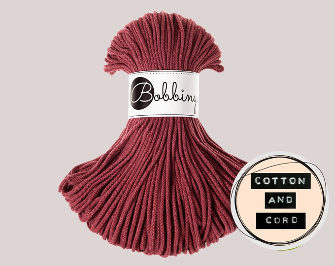 NEW Bobbiny 3mm Wild Rose | Red | Burgundy - Junior Cord  - 100% Recycled Cotton Cord | Rope | Macrame Cord | Yarn - Oeko-Tex Standard 100