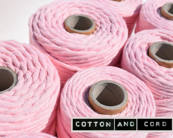 Baby Pink -  3-4mm and 5mm Premium Macrame Cord | 100m | Single Twist - 100% Recycled UK Manufactured | Macrame Cord, Rope, String