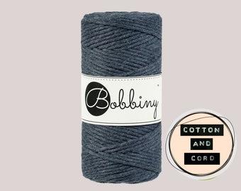 Bobbiny 3mm Regular Charcoal - Single Twist Cord  - 100% Recyled Cotton Cord | Rope | Macrame Cord | Crochet Yarn - Oeko-Tex Standard 100