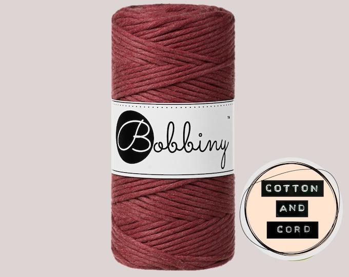 NEW Wild Rose Bobbiny 3mm Regular - Single Twist Cord - 100% Recycled Cotton Cord | Rope | Macrame Cord | Fiber Art  Oeko-Tex Standard 100
