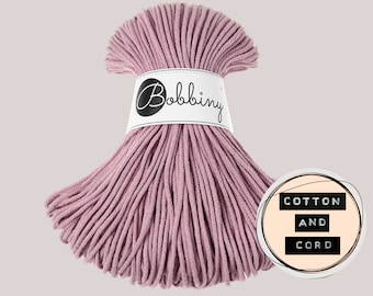 Bobbiny 3mm DUSTY PINK Junior Cord  - 100% Recyled Cotton Cord | Rope | Macrame Cord | Yarn - Oeko-Tex Standard 100 Dusky/Blush