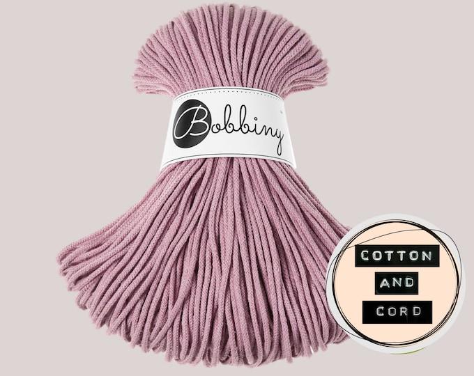 Bobbiny 3mm DUSTY PINK Junior Cord  - 100% Recyled Cotton Cord | Rope | Macrame Cord | Yarn - Oeko-Tex Standard 100 Dusky/Blush