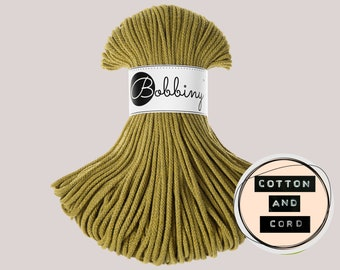 Kiwi Green | Lime - NEW Bobbiny 5mm Premium Braided Cord  - 100% Recyled Cotton Cord | Rope | Macrame Cord | Fibre Art