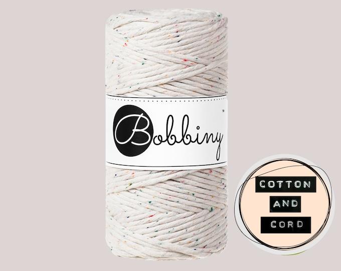 Bobbiny 3mm Regular Rainbow Dust / MULTI - Single Twist Cord - 100% Recycled Cotton Cord   Macrame Cord   Crochet Yarn  Oeko-Tex Standard100