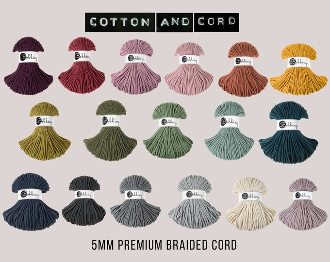 Bobbiny 5mm Premium Cord  - 100% Recycled Cotton Cord | Rope | Macrame Cord | Yarn - Oeko-Tex Standard 100 | Crochet | Weaving