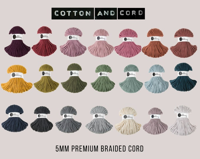 Bobbiny 5mm Premium Cord  - 100% Recycled Cotton Cord | Rope | Macrame Cord | Yarn - Oeko-Tex Standard 100 | Crochet | Weaving