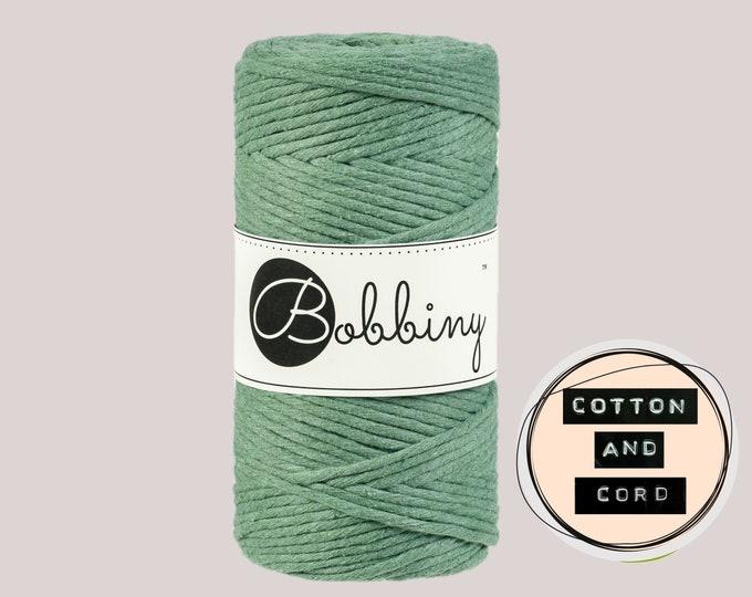 Bobbiny 3mm Regular Eucalyptus Green - Single Twist Cord 100% Recycled Cotton   Rope   Macrame Cord   Crochet Yarn Oeko-Tex Standard 100