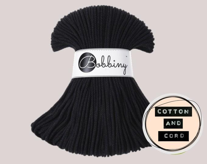Bobbiny 3mm Black Junior Cord  - 100% Recyled Cotton Cord   Rope   Macrame Cord   Yarn - Oeko-Tex Standard 100