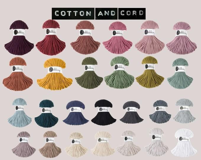 Bobbiny 3mm Junior Braided Cord  -  100% Recycled Cotton Cord | Rope| Bobbiny Macrame Cord | Oeko-Tex 100 | Crochet | Weaving