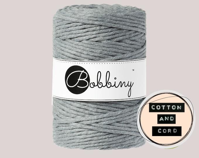 Bobbiny 5mm Steel Grey XXL Single Twist Cord -100% Recyled Cotton Cord   Rope   Macrame Cord   Oeko-Tex Standard 100