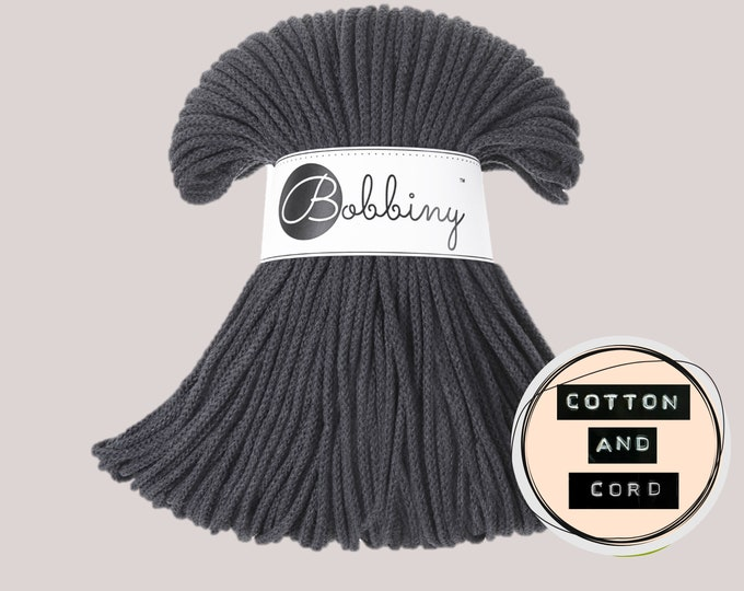 Bobbiny 3mm Charcoal/Dark Grey Junior Cord  - 100% Recyled Cotton Cord   Rope   Macrame Cord   Yarn - Oeko-Tex Standard 100