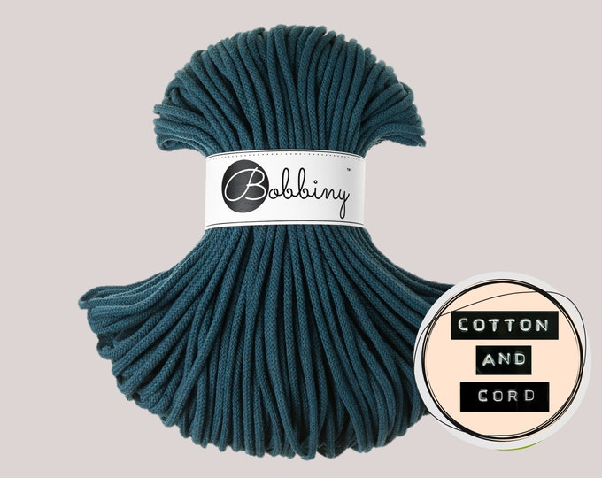 Bobbiny 5mm Peacock Blue Premium Cord  - 100% Recyled Cotton Cord | Rope | Macrame Cord | Crochet Yarn - Oeko-Tex Standard 100