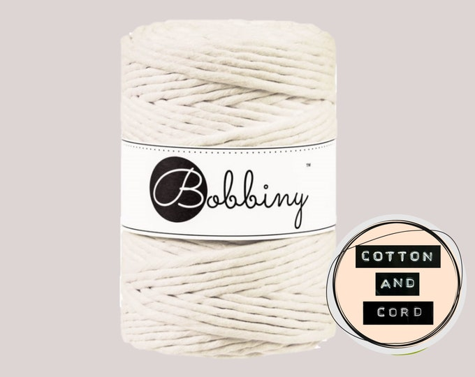 Bobbiny 5mm Natural XXL Single Twist Cord -100% Recyled Cotton Cord   Rope   Macrame Cord   Oeko-Tex Standard 100