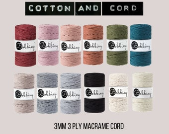 Bobbiny 3mm 3 PLY ROPE - 100m Macrame Rope  - 100% Recyled Cotton Cord | Rope | Macramé Cord Metallic Colours | Fibre Art