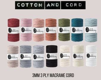 Bobbiny 3mm 3 PLY ROPE - 100m Macrame Rope  - 100% Recyled Cotton Cord | Rope | Macramé Cord Metallic Colours | Fibre Art