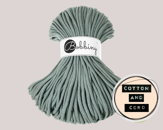 Bobbiny 5mm Laurel  Premium Cord  - 100% Recyled Cotton Cord | Rope | Macrame Cord | Yarn - Oeko-Tex Standard 100 Teal / Blue