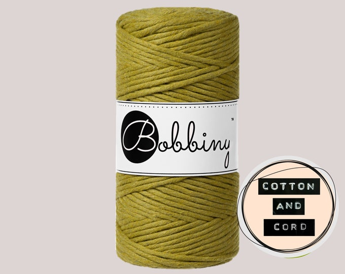 NEW Kiwi Bobbiny 3mm Regular - Single Twist Cord - 100% Recycled Cotton Cord | Rope | Macrame Cord | Fiber Art  Oeko-Tex Standard 100
