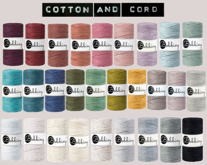 NEW COLOURS Bobbiny 3mm Cord  100m - Premium Macramé Cord | Golden Silvery | 100% Recycled Cotton Cord | Rope | Single Twist