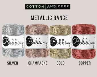 Bobbiny 3mm Regular Metallic Gold | Silver | Champagne | Copper - 50m Single Twist Cord | Rope | Macrame Cord  Yarn