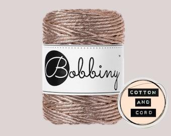 NEW **Champagne** Bobbiny 3mm Regular Metallic Champagne  - Single Twist Cord | Rope | Macrame Cord  Yarn - RECYCLED