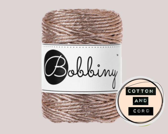 NEW **Champagne** Bobbiny 3mm Regular Metallic Champagne  - Single Twist Cord | Rope | Macrame Cord  Yarn - RECYCLED