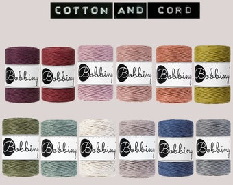 Bobbiny Baby 1.5 mm Macrame Cord 100m- 100% Recyled Cotton Cord | Rope | Jewellery Making | Fiber Art | Macrame