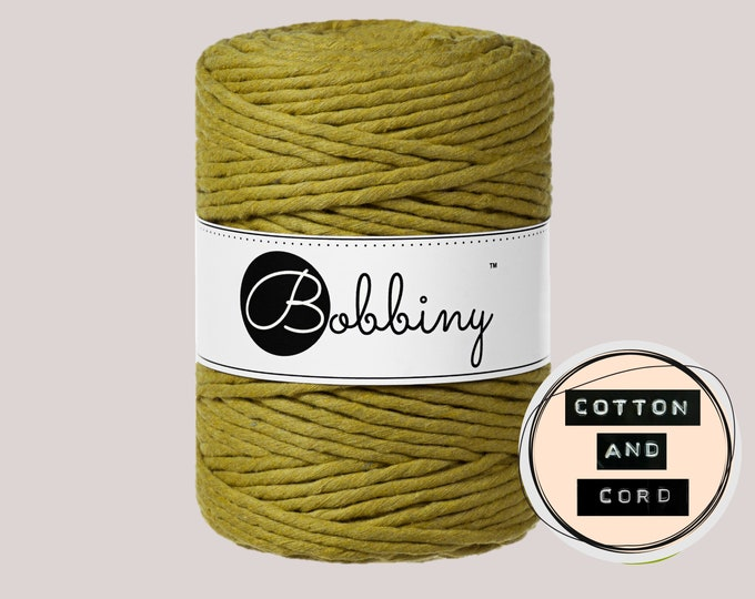 NEW Bobbiny 5mm** Kiwi** XXL Single Twist Cord -100% Recyled Cotton Cord | Rope | Macrame Cord | Oeko-Tex Standard 100 Fiber Art