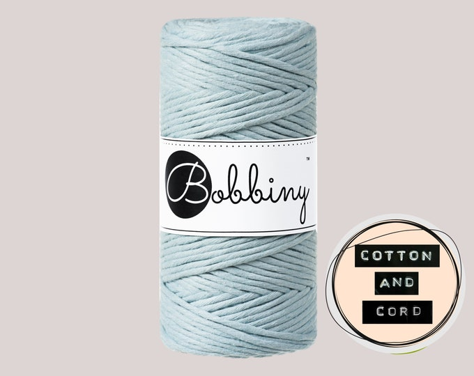 Bobbiny 3mm Misty/Light Blue Regular Single Twist Cord -100% Recyled Cotton Cord | Rope | Macrame Cord Oeko-Tex Standard 100