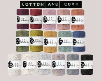 Bobbiny Baby 1.5 mm Macrame Cord 100m- 100% Recyled Cotton Cord | Rope | Jewellery Making | Fiber Art | Macrame