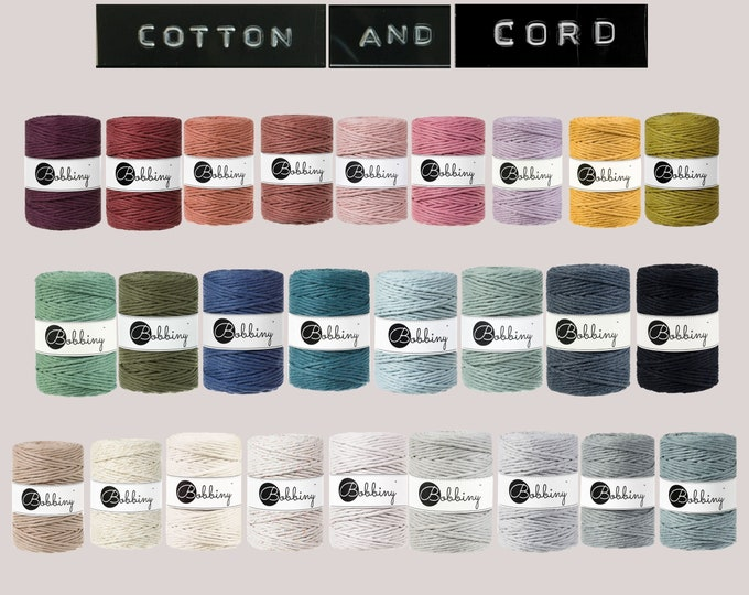 NEW COLOURS Bobbiny 5mm 100m Cotton Cord | Rope | Macramé Cord 100% recycled  | Perfect for Fraying /  Fringing