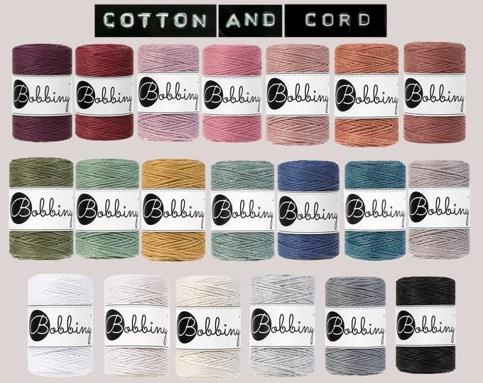 NEW COLOURS Bobbiny Baby 1.5 mm Macrame Cord 100m- 100% Recyled Cotton Cord | Rope | Jewellery Making | Fiber Art | Macrame