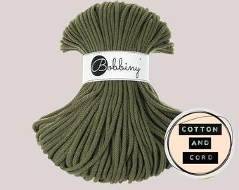 Bobbiny 5mm Avacado Green Premium Cord  - 100% Recyled Cotton Cord | Rope | Macrame Cord | Yarn - Oeko-Tex Standard 100