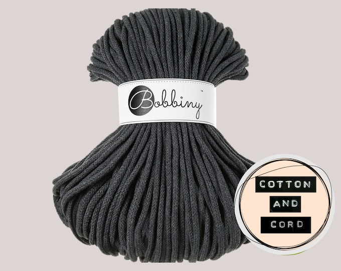 Bobbiny 5mm Charcoal Premium Cord  - 100% Recyled Cotton Cord | Rope | Macrame Cord | Yarn - Oeko-Tex Standard 100