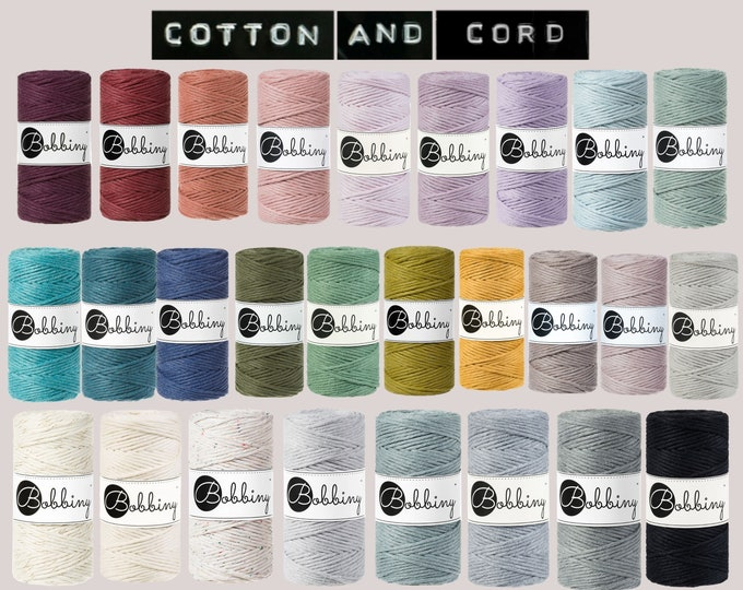 Bobbiny 3mm Cord 100m GOLDEN SILVERY  - 100% Recyled Cotton Cord | Rope | Macramé Cord NEW Colours