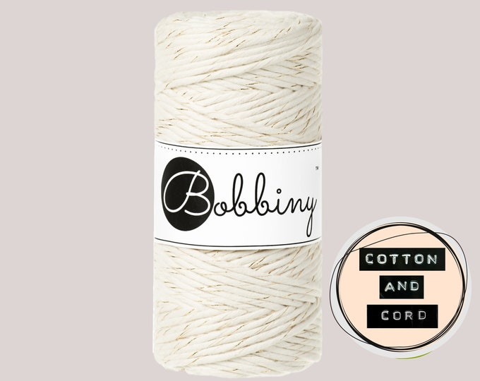 Bobbiny 3mm Regular Golden Natural- Single Twist Cord - 100% Recycled Cotton Cord   Rope   Macrame Cord   Crochet Yarn Oeko-Tex Standard 100