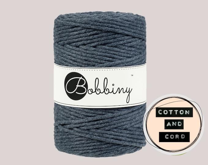 Bobbiny 5mm Charcoal Grey XXL Single Twist Cord -100% Recyled Cotton Cord   Rope   Macrame Cord   Oeko-Tex Standard 100