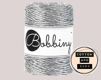 Bobbiny 3mm Regular Metallic Silver- Single Twist Cord | Rope | Macrame Cord  Yarn - RECYCLED