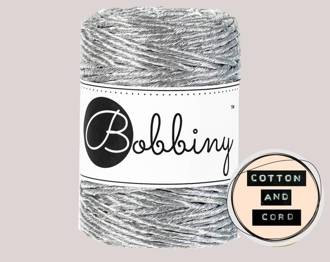 Bobbiny 3mm Regular Metallic Silver- Single Twist Cord   Rope   Macrame Cord  Yarn - RECYCLED