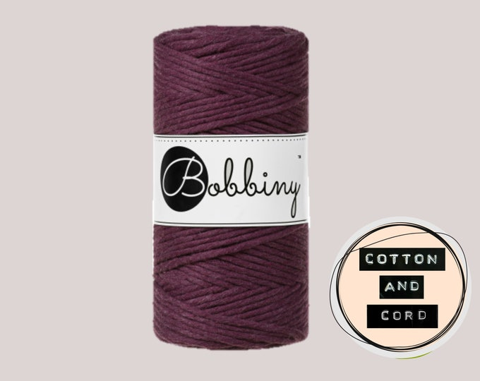 NEW Bobbiny 3mm Regular Blackberry - Single Twist Cord - 100% Recycled Cotton Cord | Rope | Macrame Cord | Fiber Art  Oeko-Tex Standard 100