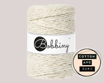 Bobbiny 5mm Golden Natural XXL Single Twist Cord -100% Recyled Cotton Cord | Rope | Macrame Cord | Oeko-Tex Standard 100