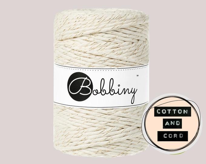 Bobbiny 5mm Golden Natural XXL Single Twist Cord -100% Recyled Cotton Cord   Rope   Macrame Cord   Oeko-Tex Standard 100