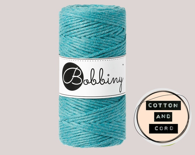 Bobbiny 3mm Teal Blue Regular Single Twist Cord  - 100% Recyled Cotton Cord | Rope | Macrame Cord | Oeko-Tex Standard 100