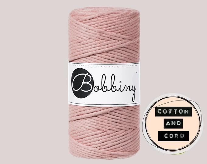 Bobbiny 3mm Regular Blush Pink - Single Twist Cord - 100% Recycled Cotton Cord | Rope | Macrame Cord | Crochet Yarn  Oeko-Tex Standard 100