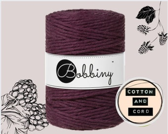 NEW COLOUR Bobbiny 5mm Blackberry XXL Single Twist Cord -100% Recyled Cotton Cord | Rope | Macrame Cord | Oeko-Tex Standard 100 Fiber Art