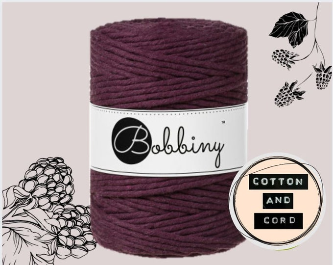NEW COLOUR Bobbiny 5mm Blackberry XXL Single Twist Cord -100% Recyled Cotton Cord | Rope | Macrame Cord | Oeko-Tex Standard 100 Fiber Art