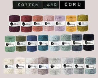 Bobbiny 5mm 100m Cotton Cord | Rope | GOLDEN SILVERY | Macramé Cord 100% recycled  | Perfect for Fraying /  Fringing