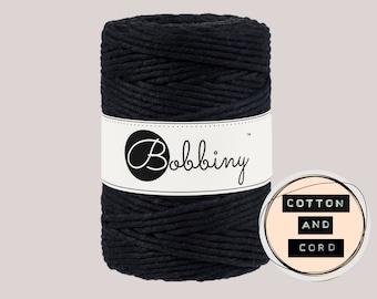 Bobbiny 5mm Black XXL Single Twist Cord -100% Recyled Cotton Cord | Rope | Macrame Cord | Oeko-Tex Standard 100