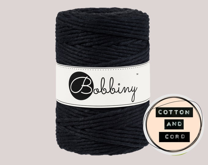 Bobbiny 5mm Black XXL Single Twist Cord -100% Recyled Cotton Cord | Rope | Macrame Cord | Oeko-Tex Standard 100