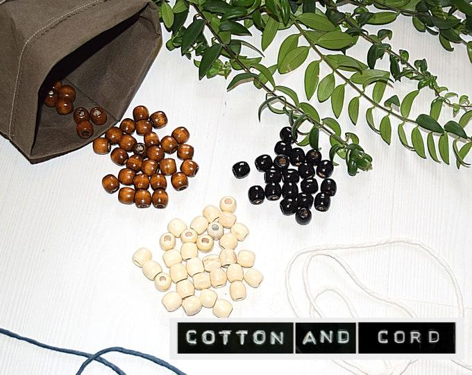 Macrame Beads | Wooden Beads - Large Hole Beads / Extra Large Hole Beads - Beads for Plant hangers