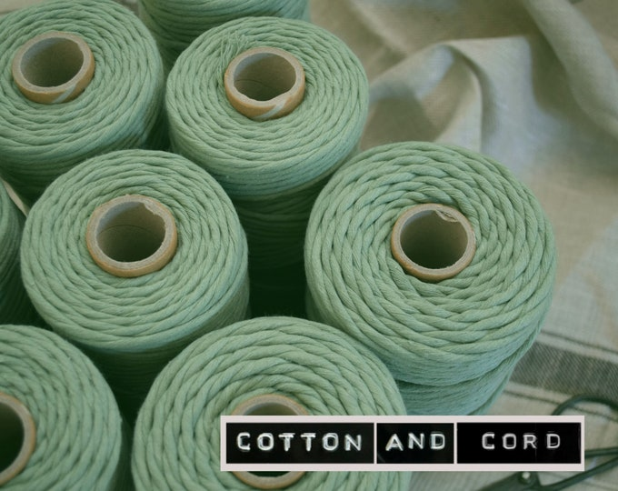 SAGE GREEN -  3-4mm and 5mm Premium Macrame Cord | 100m | Single Twist - 100% Recycled UK Manufactured | Macrame Cord, Rope, String